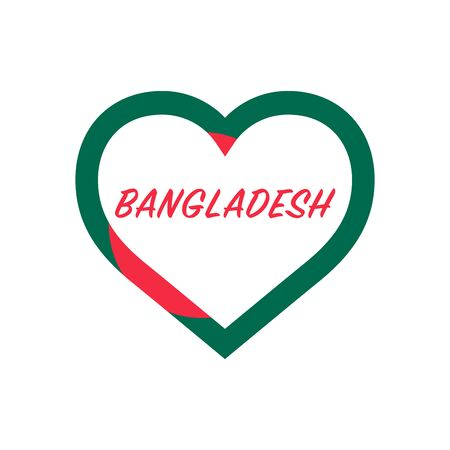 Bangladesh flag in heart. I love my country. sign. Stock vector illustration isolated on white background.