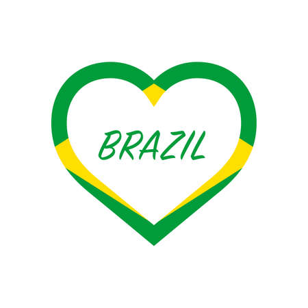 Brazil flag in heart. I love my country. sign. Stock vector illustration isolated on white background. 写真素材 - 150583361