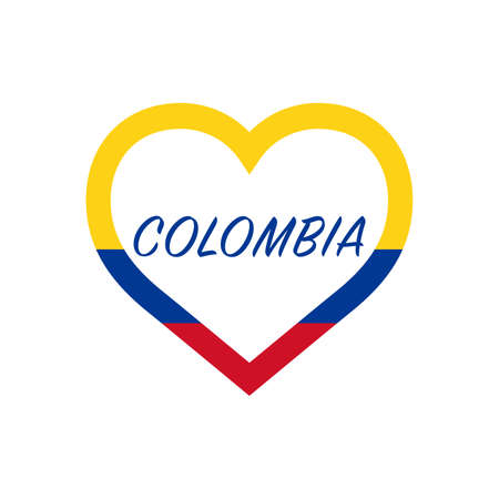 Colombia flag in heart. I love my country. sign. Stock vector illustration isolated on white background.