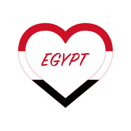 Egypt flag in heart. I love my country. sign. Stock vector illustration