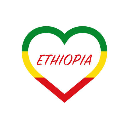 Ethiopia flag in heart. I love my country. sign. Stock vector illustration 写真素材 - 150583366