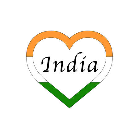 India flag in heart. I love my country. sign. Stock vector illustration 写真素材 - 150583376