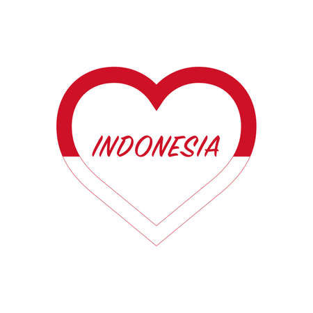 Indonesia flag in heart. I love my country. sign. Stock vector illustration