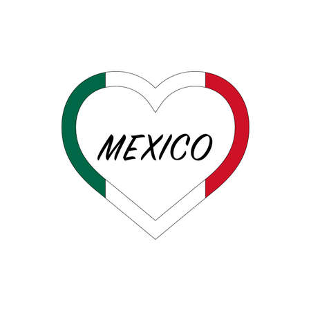 Mexico flag in heart. I love my country. sign. Stock vector illustration isolated on white background.