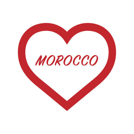 Morocco flag in heart. I love my country. sign. Stock vector illustration isolated on white background. 写真素材 - 150637796