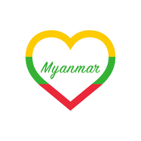 Myanmar flag in heart. I love my country. sign. Stock vector illustration isolated on white background.
