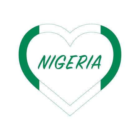 Nigeria flag in heart. I love my country. sign. Stock vector illustration isolated on white background.
