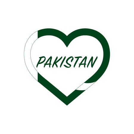 Pakistan flag in heart. I love my country. sign. Stock vector illustration isolated on white background.