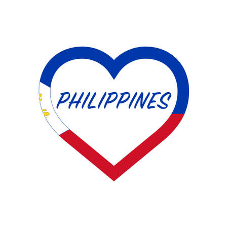 Philippines flag in heart. I love my country. sign. Stock vector illustration isolated on white background.