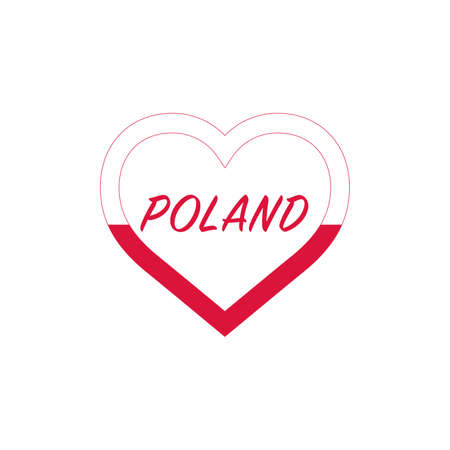 Poland flag in heart. I love my country. sign. Stock vector illustration isolated on white background.
