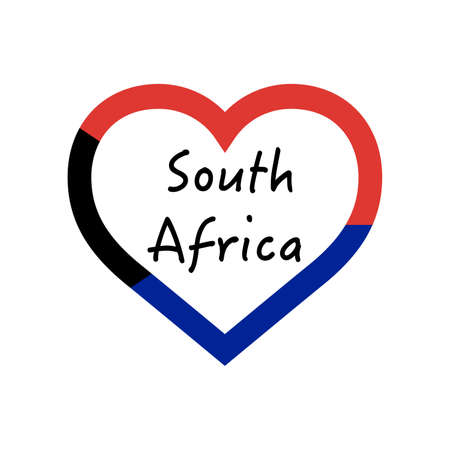 South Africa flag in heart. I love my country. sign. Stock vector illustration isolated on white background.