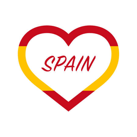 Spain flag in heart. I love my country. sign. Stock vector illustration isolated on white background.