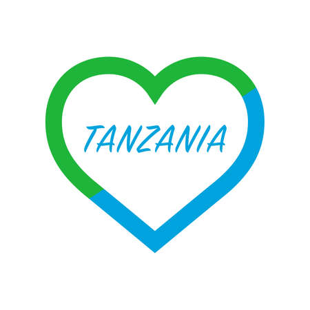 Tanzania flag in heart. I love my country. sign. Stock vector illustration isolated on white background.  イラスト・ベクター素材