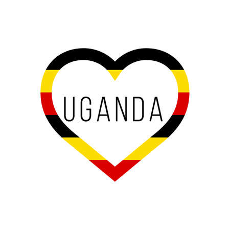 Uganda flag in heart. I love my country. sign. Stock vector illustration isolated on white background.  イラスト・ベクター素材