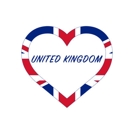 United Kingdom flag in heart. I love my country. sign. Stock vector illustration isolated on white background.
