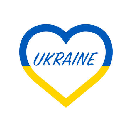 Ukraine flag in heart. I love my country. sign. Stock vector illustration isolated on white background.