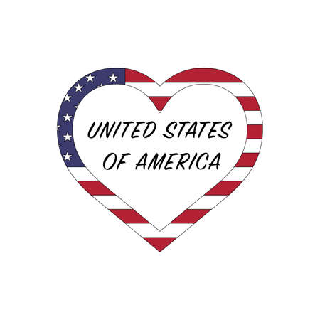 United States of America flag in heart. I love my USA country. Stock vector illustration isolated on white background.