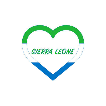 Sierra Leone flag in heart. I love my country. sign. Stock vector illustration isolated on white background.  イラスト・ベクター素材
