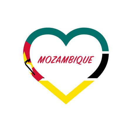 Mozambique flag in heart. I love my country. sign. Stock vector illustration isolated on white background.