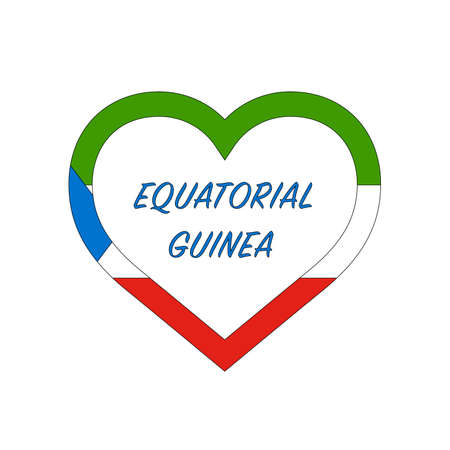 Equatorial Guinea flag in heart. I love my country. sign. Stock vector illustration isolated on white background.  イラスト・ベクター素材