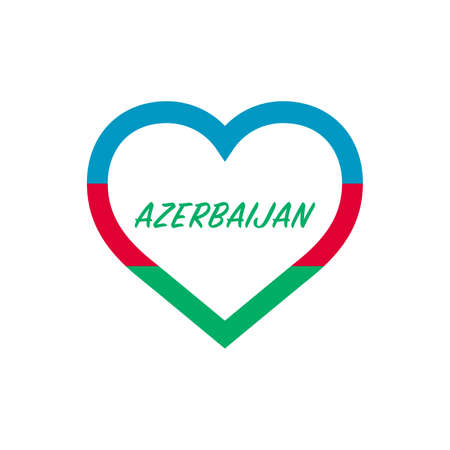 Azerbaijan flag in heart. I love my country. sign. Stock vector illustration isolated on white background.