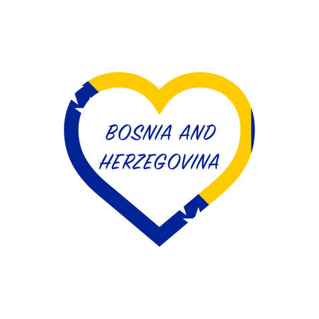 Bosnia and Herzegovina flag in heart. I love my country. sign. Stock vector illustration isolated on white background.  イラスト・ベクター素材