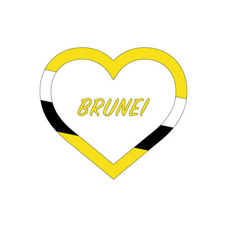 Brunei flag in heart. I love my country. sign. Stock vector illustration isolated on white background.