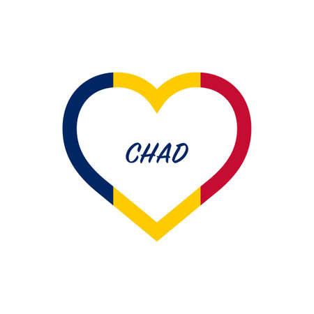 Chad flag in heart. I love my country. sign. Stock vector illustration isolated on white background.