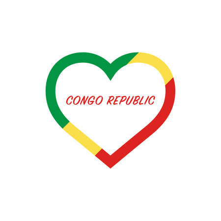 Congo Republic flag in heart. I love my country. sign. Stock vector illustration isolated on white background.  イラスト・ベクター素材