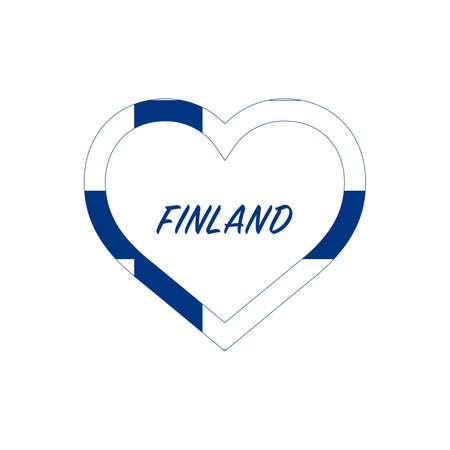 Finland flag in heart. I love my country. sign. Stock vector illustration isolated on white background.