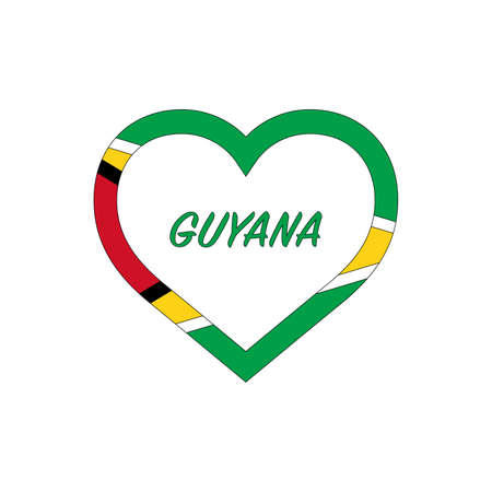 Guyana flag in heart. I love my country. sign. Stock vector illustration isolated on white background.