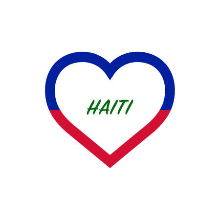 Haiti flag in heart. I love my country. sign. Stock vector illustration isolated on white background.  イラスト・ベクター素材