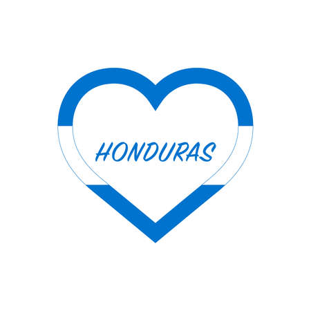 Honduras flag in heart. I love my country. sign. Stock vector illustration isolated on white background.  イラスト・ベクター素材
