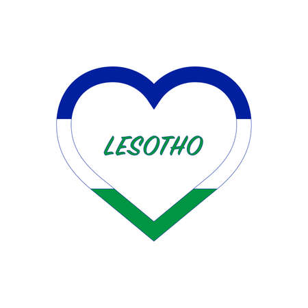 Lesotho flag in heart. I love my country. sign. Stock vector illustration isolated on white background.