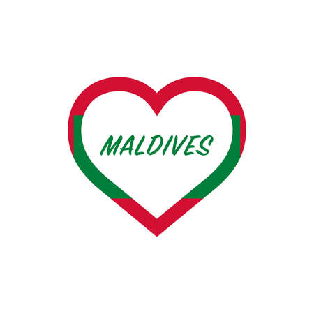 Maldives flag in heart. I love my country. sign. Stock vector illustration isolated on white background.