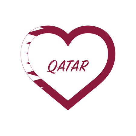 Qatar flag in heart. I love my country. sign. Stock vector illustration isolated on white background.  イラスト・ベクター素材