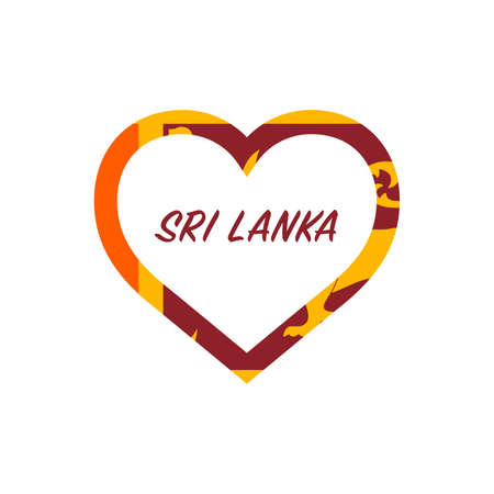 Sri Lanka flag in heart. I love my country. sign. Stock vector illustration isolated on white background.  イラスト・ベクター素材