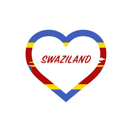 Swaziland flag in heart. I love my country. sign. Stock vector illustration isolated on white background.