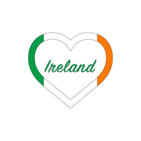 Ireland flag in heart. I love my country. sign. Stock vector illustration isolated on white background.
