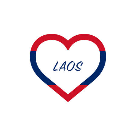 Laos flag in heart. I love my country. sign. Stock vector illustration isolated on white background.