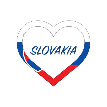 Slovakia flag in heart. I love my country. sign. Stock vector illustration isolated on white background.