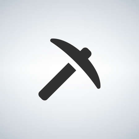 Pickaxe icon. Black icon isolated on white background. Pick axe silhouette. Simple icon.  イラスト・ベクター素材