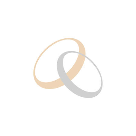 Gold and silver rings. Golden metal circle. Two rings. Stock vector illustration isolated on white background