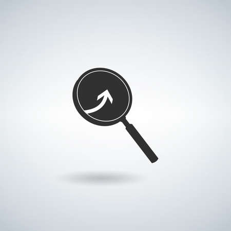 Arrow with magnifier. Vector icon. Stock vector illustration isolated on white background