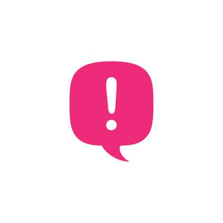 Exclamation mark. Chat bubble. Hazard warning symbol. Flat design style. Stock vector illustration isolated on white background