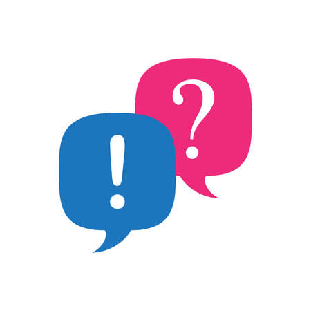 Answer and question. Pink and blue speech bubbles, question and exclamation signs. Stock vector illustration isolated on white background.  イラスト・ベクター素材