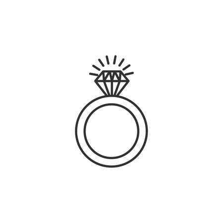 wedding or engagement ring with diamond. Stock vector illustration isolated on white background