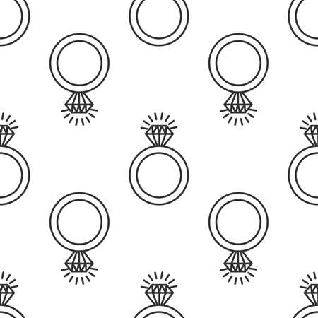 diamond ring doodle drawing seamless pattern background. Stock vector illustration isolated on white background