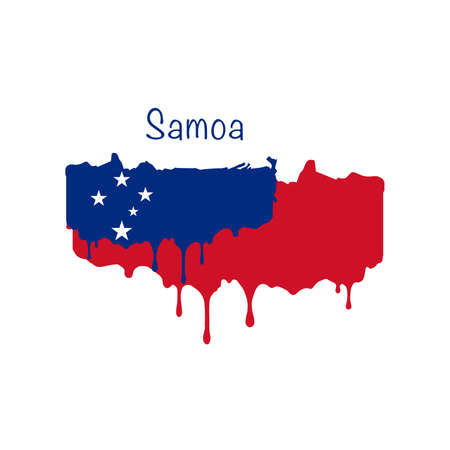 Painted Samoa flag, Samoa flag paint drips. Stock vector illustration isolated on white background