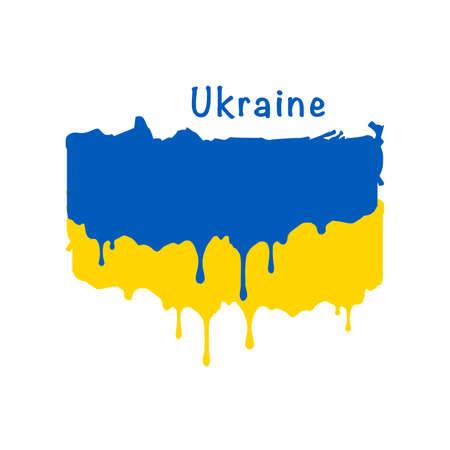Painted Ukraine flag, Ukraine flag paint drips. Stock vector illustration isolated on white background